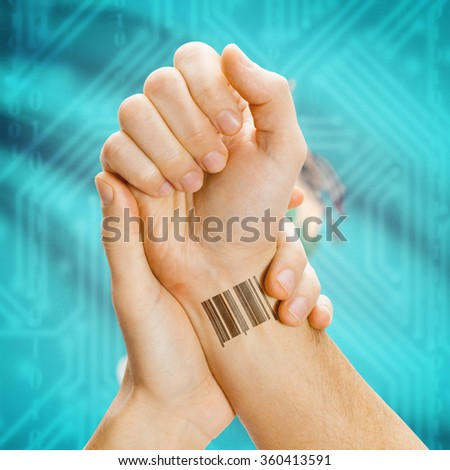 Barcode ID number tattoo on wrist and USA states flag on background series - Oklahoma - stock photo