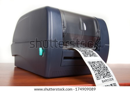 barcode label printer - stock photo