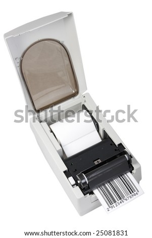 barcode label printer, isolated on white - stock photo