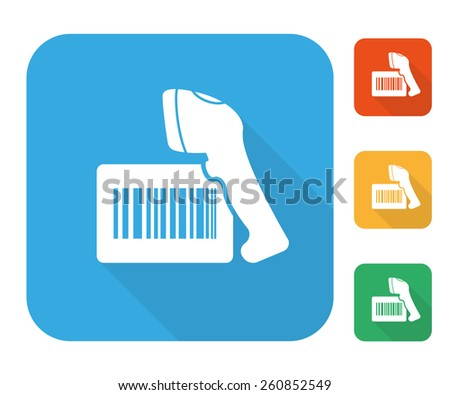 Barcode label with reader icon set multi color set. - stock photo