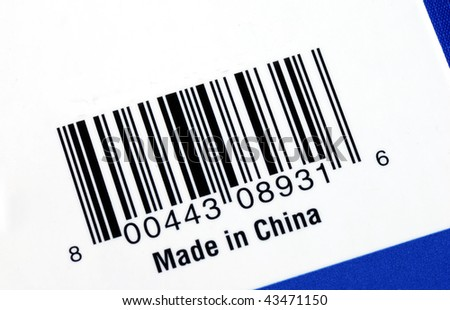 Barcode of the product made in China isolated on blue