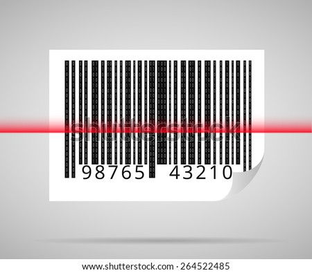 Barcode scanning icon with red laser line - stock photo