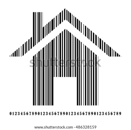 Barcode - Simple black house - symbol