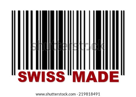 Barcode with red label Swiss Made