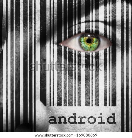 Barcode with the word android as concept superimposed on a man's face - stock photo
