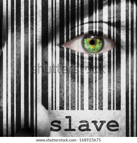 Barcode with the word slave as concept superimposed on a man's face - stock photo