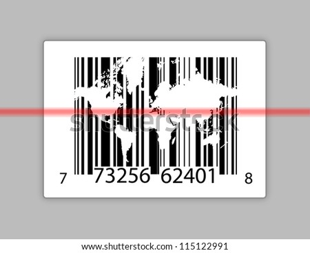 barcode with world map over gray background