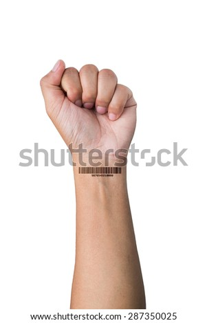 barcoded hand on white background - stock photo