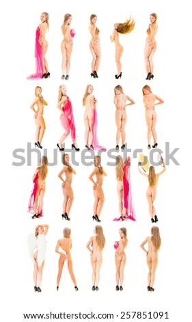 Bare and Charming Many of the same Nude  - stock photo