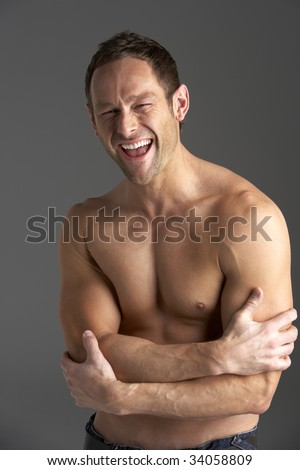 Bare Chested Young Man - stock photo