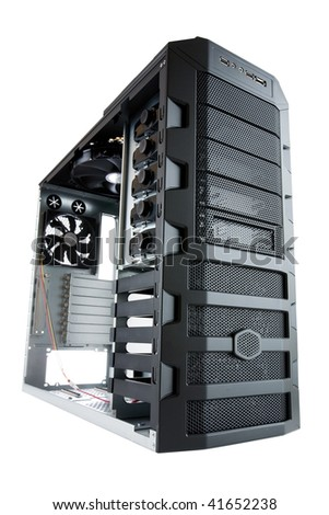 Bare computer case, ready for building, assembling of a new, hi-end PC, with clipping path - stock photo