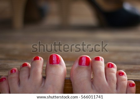 Wife Giving Me A Lovely Footjob With Red Painted Toenails