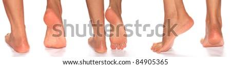 Bare feet on white - stock photo