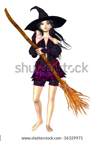 Bare foot Witch holding a magic broom stick. Illustration on clean white background. - stock photo
