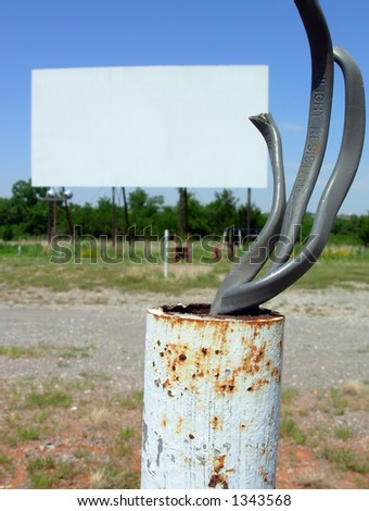 Bare wires at Drive-In Theater - stock photo
