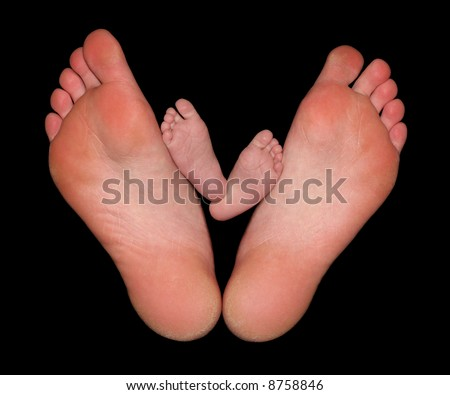 Barefoot Parent with Bare Baby Feet