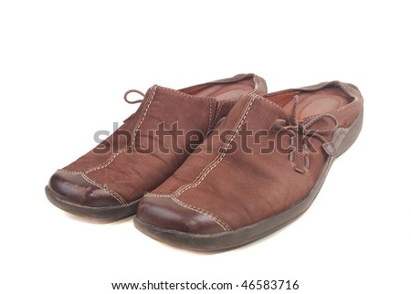 Barefoot persons from a brown skin on a thick corrugated sole