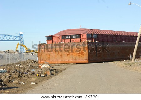 Barge in middle of street - 9th Ward - New Orleans - stock photo
