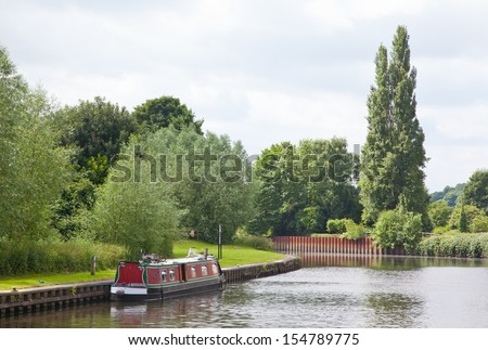 Barge in Sprotbrough, England, UK - stock photo