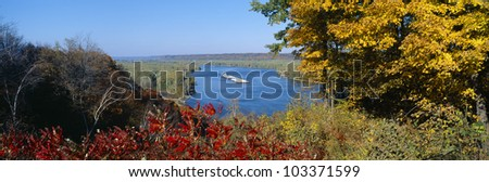 Barge on Mississippi River in Autumn, Great River Road, Iowa - stock photo