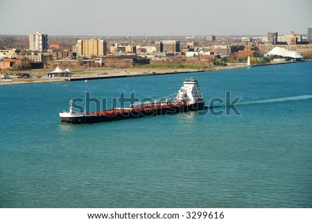 barge on the great lakes - stock photo
