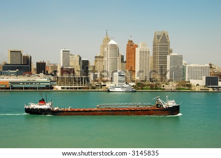 Barge on the Huron River, Detroit - stock photo