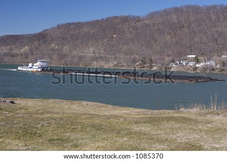 Barge on the River - stock photo
