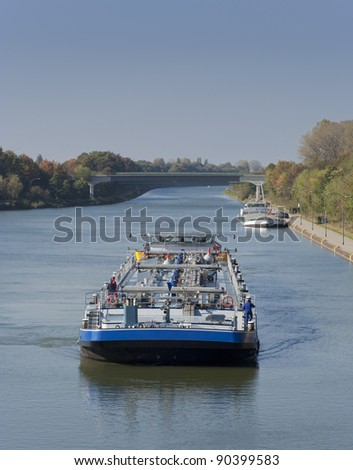 Barges on canal - Wesel-Datteln-Kanal in Dorsten, Germany - stock photo