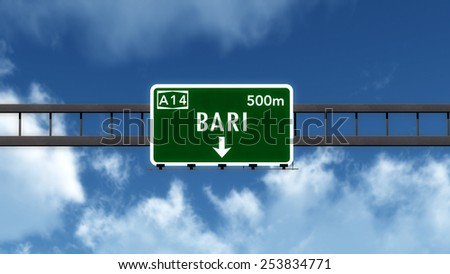 Bari Italy Highway Road Sign 3D Illustration
