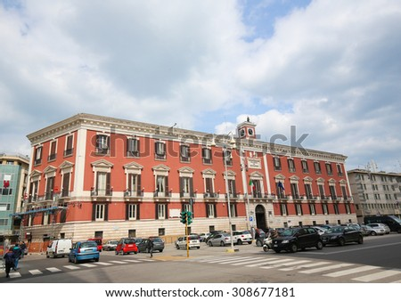 BARI, ITALY - MARCH 16, 2015: Palazzo del Governo or Town Hall in the center of Bari, Italy. - stock photo