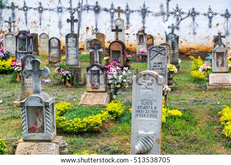 BARICHARA, COLOMBIA - MAY 13: Elaborate tombstones in Barichara, Colombia on May 13, 2016