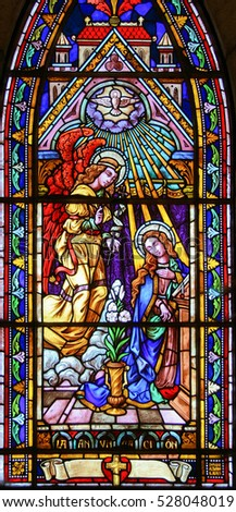 BARILOCHE, ARGENTINA - MARCH 4, 2008: Stained glass church window in the Church of Bariloche, Argentina, depicting the Annunciation