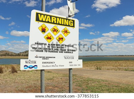 BARINGHUP, VICTORIA, AUSTRALIA - February 14, 2016: Monitoring at Cairn Curran Reservoir detected high levels of blue-green algae. The public has been warned to avoid contact with the water
