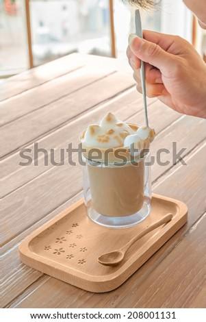 Barista paint foam cute cat ,Latte art 3D - stock photo