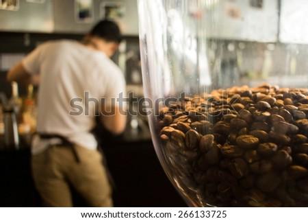Barista working, Close-up Coffee machine - stock photo