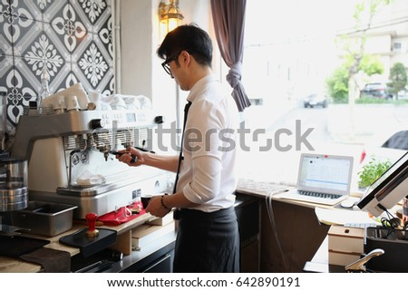 Barista working in a cafe