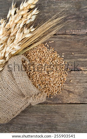 barley and oats on wooden surface - stock photo