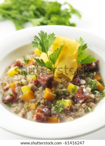 barley minestrone - stock photo