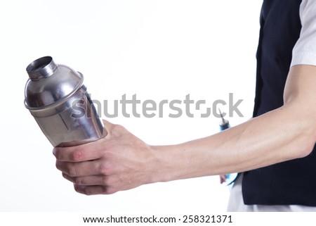 Barman over white background - stock photo
