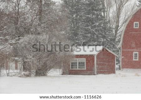 Barn and Buildings on Farm in Alberta Canada - stock photo