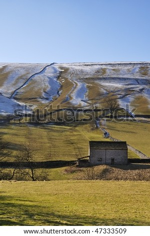 Barn and fields in the yorkshire dales - stock photo
