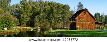 Barn and Pond Panorama - stock photo