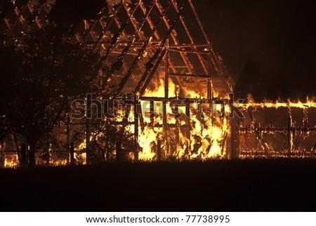 barn burning - stock photo