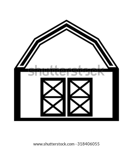 Barn house icon or sign isolated on white background. - stock photo