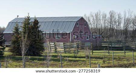 Barn in a field, Manitoba, Canada - stock photo