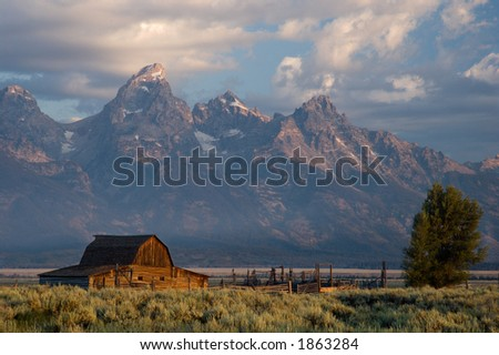 Barn in the Grand teton - stock photo