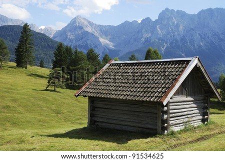 Barn in the Karwendel mountains of Bavaria (Germany)