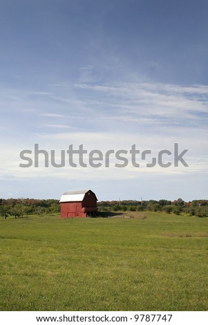 Barn in the middle of farm - stock photo