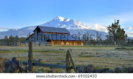 Barn near Mount Shasta, Northern California - stock photo