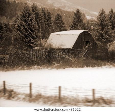 Barn Northwest   Montana - stock photo